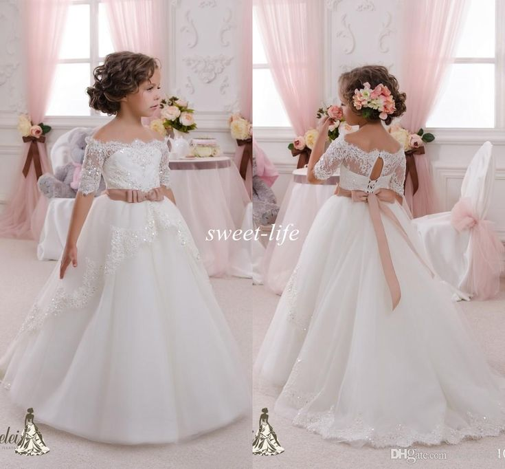 2015 Ivory Short Sleeves Wedding Flower Girl Dresses Bling Sequins Lace Sash Off the Shoulder Tutu Kids Communion Dresses for Girls Pageant Online with $64.7/Piece on Sweet-life's Store   DHgate.com