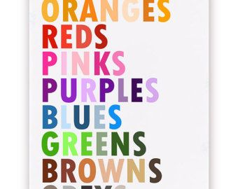 Colors in English Poster Large 20 X 30 by gracechiamdesigns