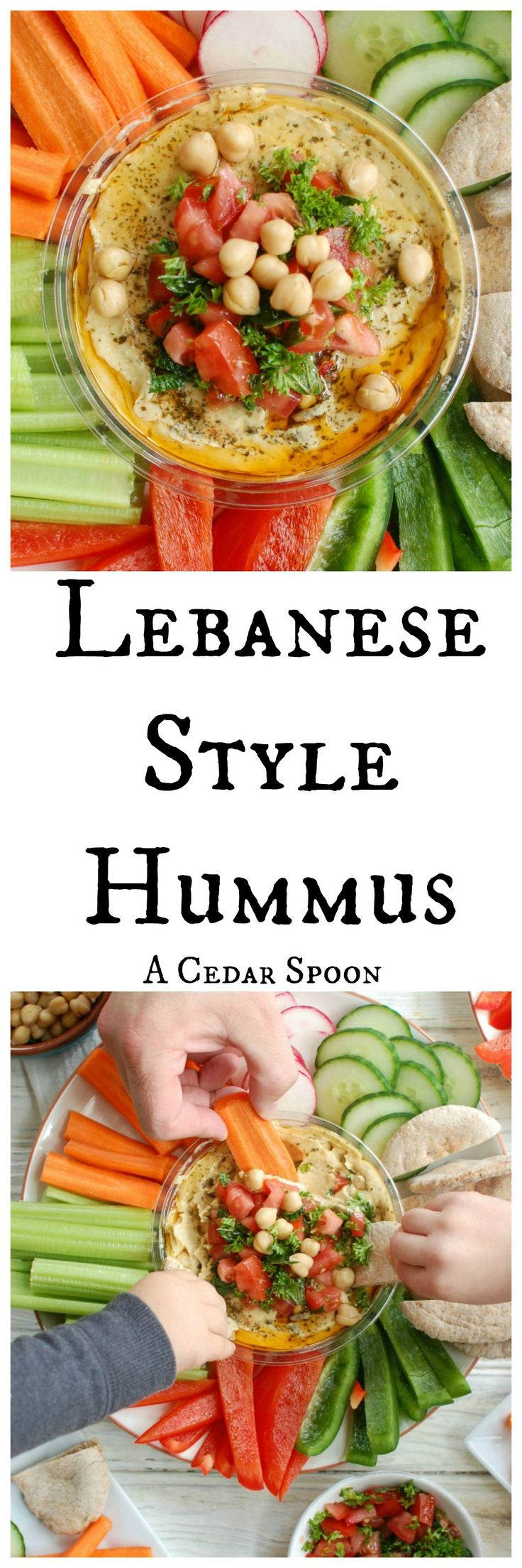 Lebanese Style Hummus is a simple twist on classic hummus using ingredients you already have.  Creamy hummus is topped with diced tomatoes, fresh parsley and mint, chickpeas, pine nuts and a squeeze of lemon juice. Serve this with a rainbow of vegetables and whole wheat pita. The perfect unofficial meal!// A Cedar Spoon