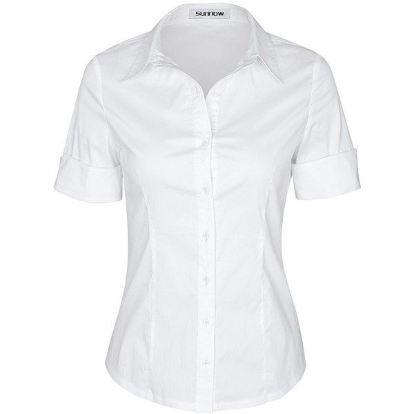 SUNNOW Womens Tailored Short Sleeve Basic Simple Button-down Shirt... (£11) ❤ liked on Polyvore featuring tops, short sleeve button down shirts, stretchy tops, button up top, short-sleeve button-down shirts and button down top
