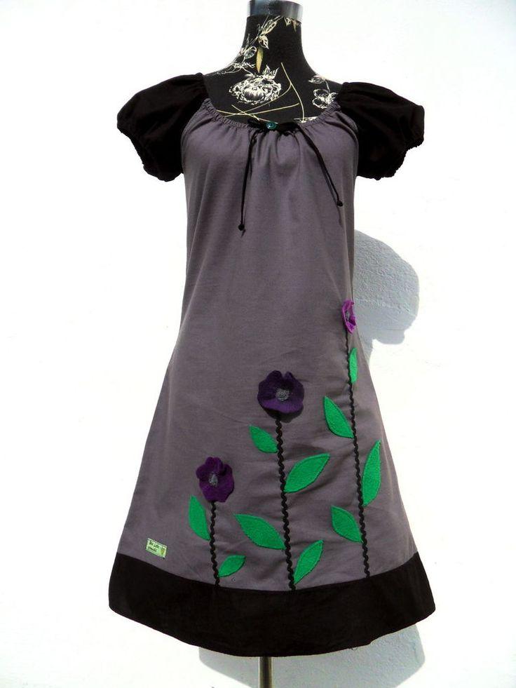 Kleid Tunika Gr.  38 M kurz arm Kleid grau Zackenlitze Fleece Blumen