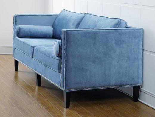TOV Furniture Cooper Blue Velvet Sofa