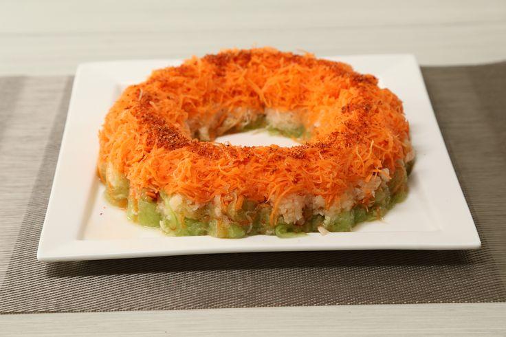 Cómo hacer una rosca de jícama, pepino y zanahoria