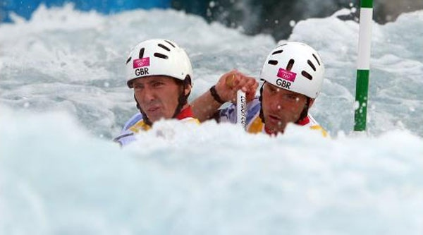 : David Florence (L) of Great Britain and his team mate Richard Hounslow compete in the Mens`s Canoe Double (C2) semi finale on Day 6 of the London 2012 Olympic Games at Lee Valley White Water Centre on August 2, 2012 in London, England. (Photo by Alexander Hassenstein/Getty Images)