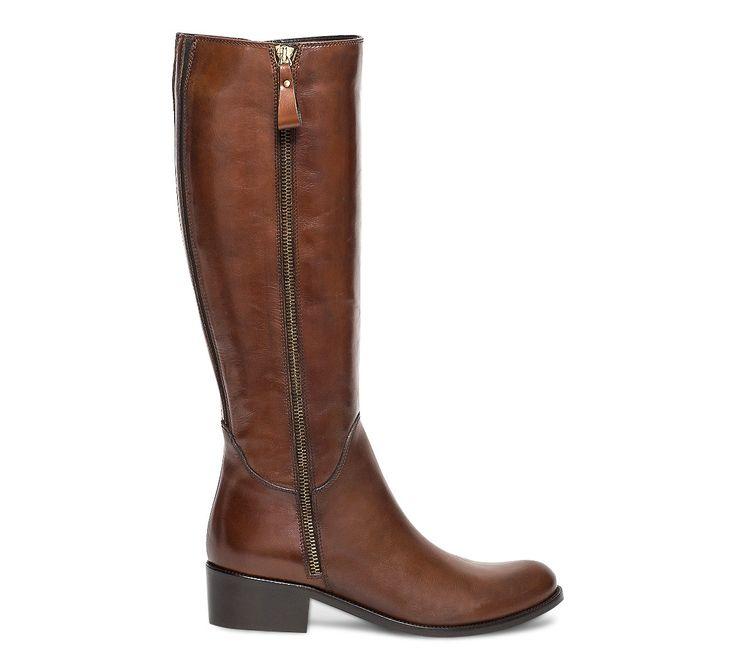 Botte cuir camel taille mollet S à double zip - Bottes - Chaussures femme