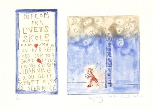 Kunstner: Bjørg Thorhallsdottir Teknikk: Grafikk, etsning Motiv: 12 x 17 cm Ark: 22 x 28 cm Opplag: 150  Klikk på bildet for en større utgave