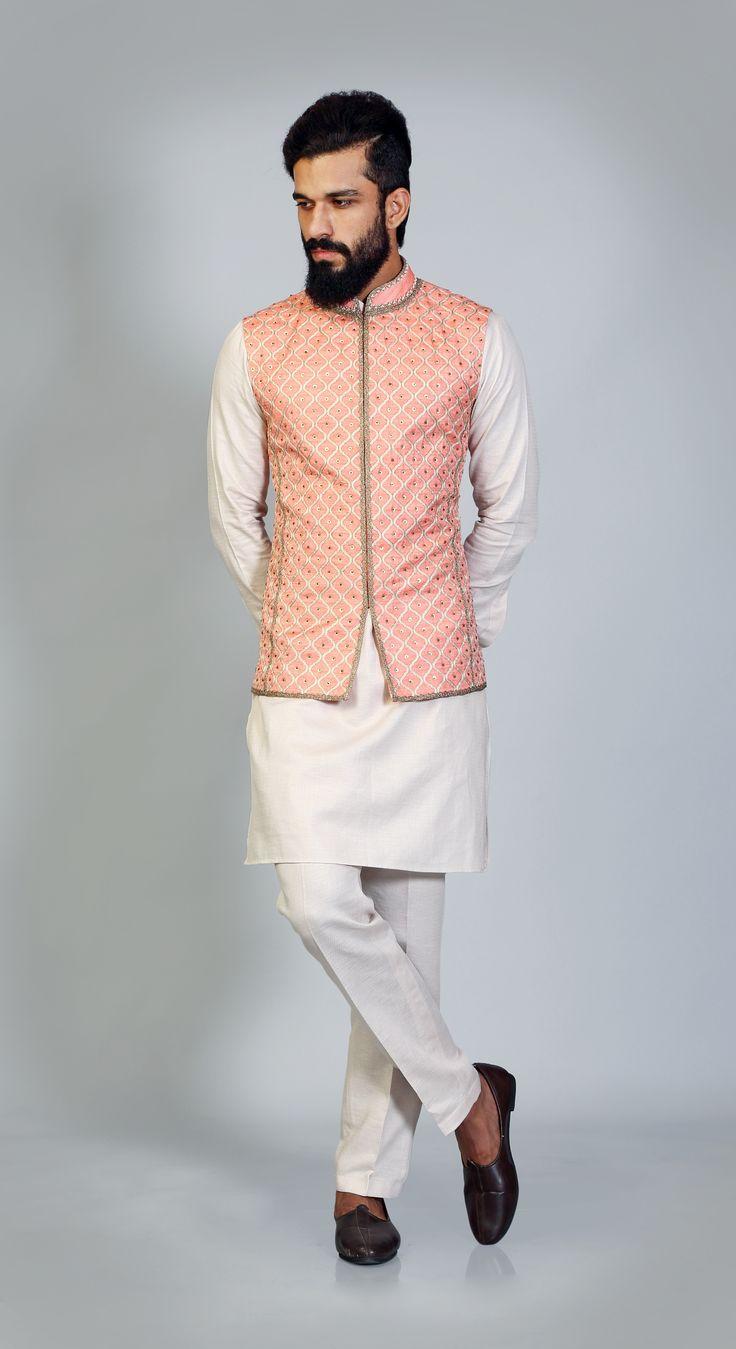 Orange #jharokha #resham #embroidery #sadri #ivory #khadi #kurta #aligarhi #payjama #simple #elegant #manswear #classic #sophisticated https://goo.gl/EhpJUr