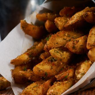 Grilled Steak Fries with Garlic Sauce and Parmesan - Best of 2012 Side recipe