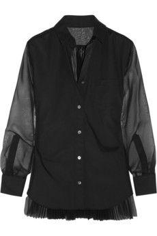 Sacai Pleated-back poplin and chiffon shirt