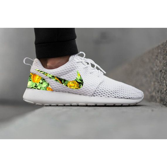 nike roshe run green flower print ribbon