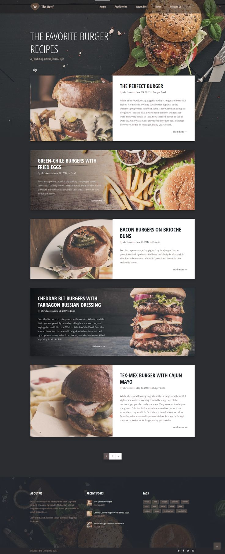 Creative layout Food Blog WordPress Theme. – Jens Bohlscheid