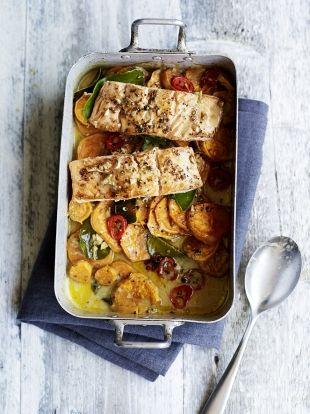 Asian salmon & sweet potato traybake   Jamie Oliver