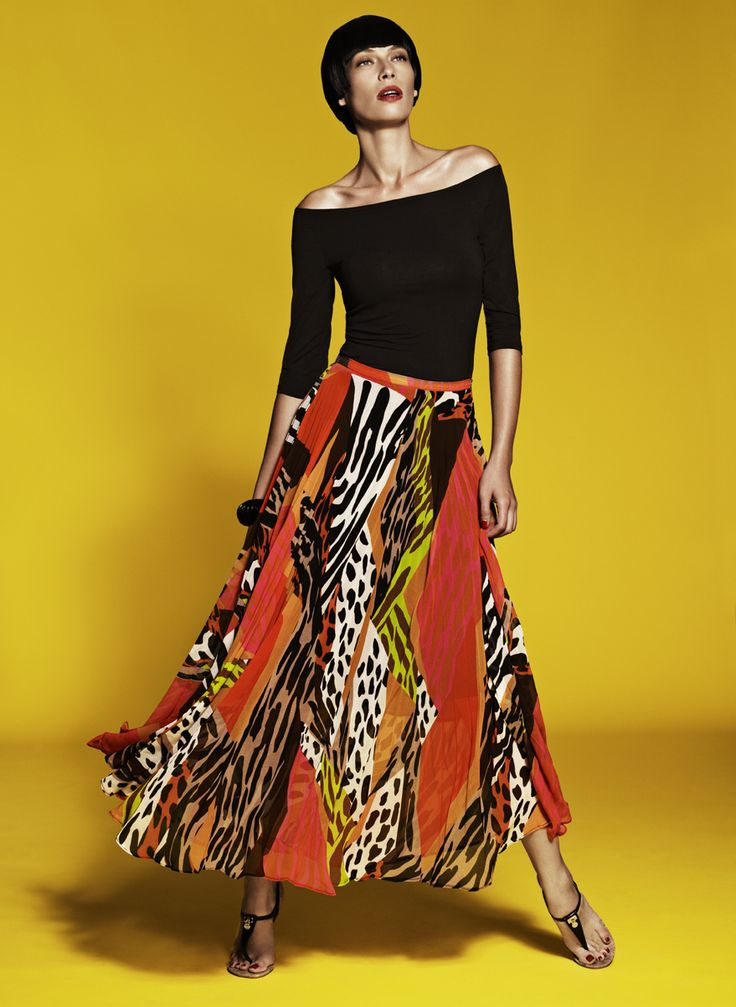 3/4 Sleeve Off Shoulder Top & Sunray Pleated Skirt