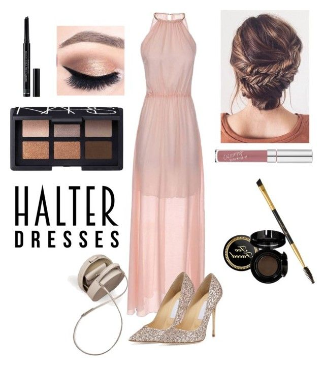 Untitled #40 by xjihye on Polyvore featuring polyvore, fashion, style, Jimmy Choo, NARS Cosmetics, Christian Dior, BUwood, clothing and halterdresses