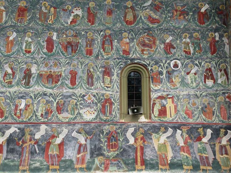 The Tree of Jesse symbolizing the continuity of the Old and New Testaments appears on the south exterior wall of Sucevita Monastery in Bukovina, Romania. The tree grows from a reclining figure of Jesse, who is flanked by a row of ancient philosophers.