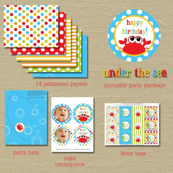 DIY Printable Birthday Party Package. Under the Sea Collection.