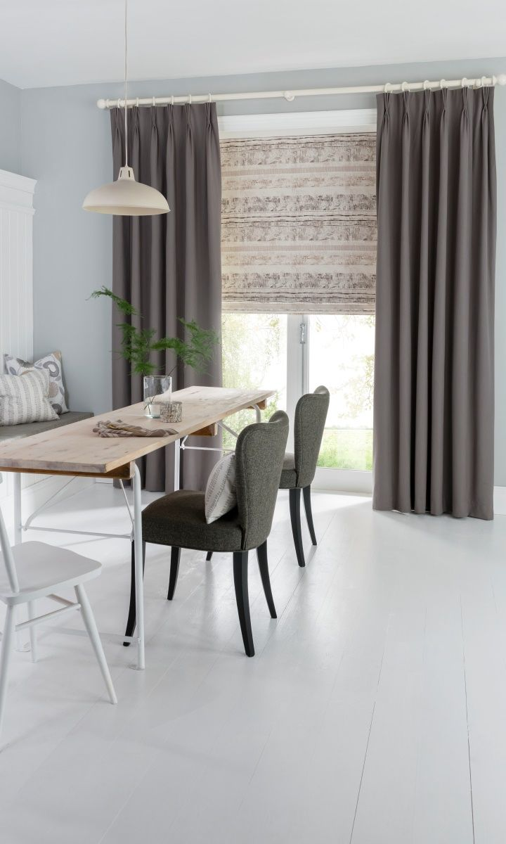 Gorgeous Scandi style dining room. Nice option of curtains or roller blind. Lovely pattern.