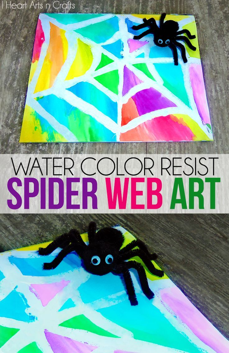 water color resist spider web kids art - Preschool Halloween Art Projects