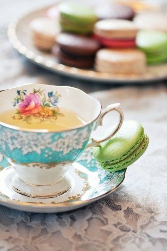 What an absolutely beautiful cup!  And it's true, macaroons really are made for tea parties, aren't they?
