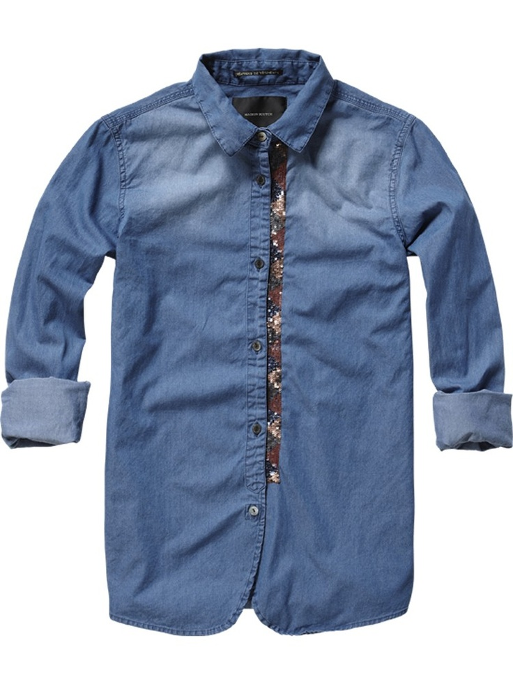 Blue shirt with special details - Maison Scotch online shop www.scotch-soda.com/scotchrocks #scotchrocks