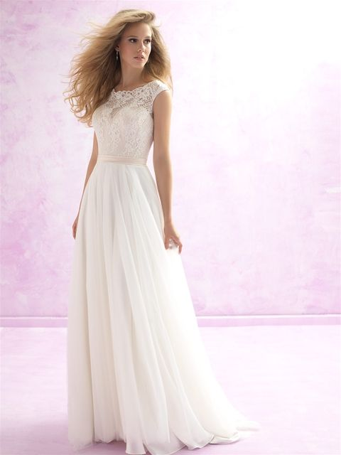 Take a look at this Madison James soft and romantic gown where scalloped lace overlay composes the bodice of this delicate A-line gown. MJ101 at www.charlottesweddings.com
