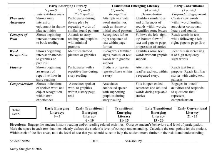 The Literacy Rubric By Kathy Staugler 2007 Is A Quick