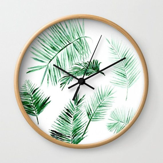 Palm Leaf Wall Clock modern wall clock tropical wall by lake1221