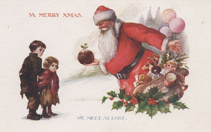 Postcard, A Merry Xmas We Meet at Last, Inter-Art Co. (Publisher), gifted by Mr Geoff Harding, collection of Hawke's Bay Museums Trust, Ruawharo Tā-ū-rangi, [88301]