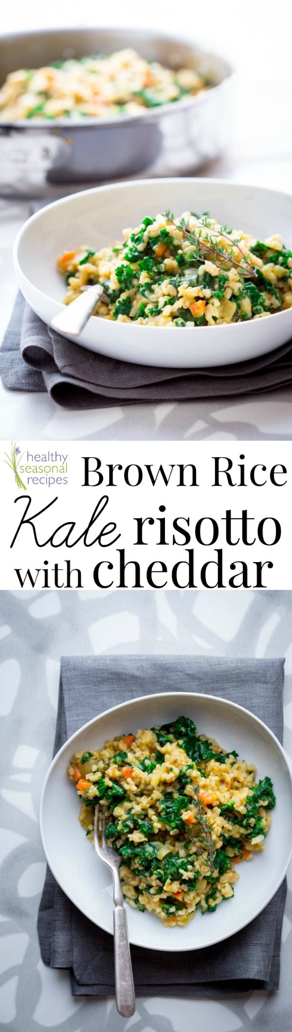 brown rice kale risotto with cheddar - Healthy Seasonal Recipes
