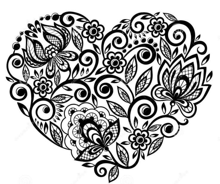Beautiful Lace Flowers Heart Tattoo Design