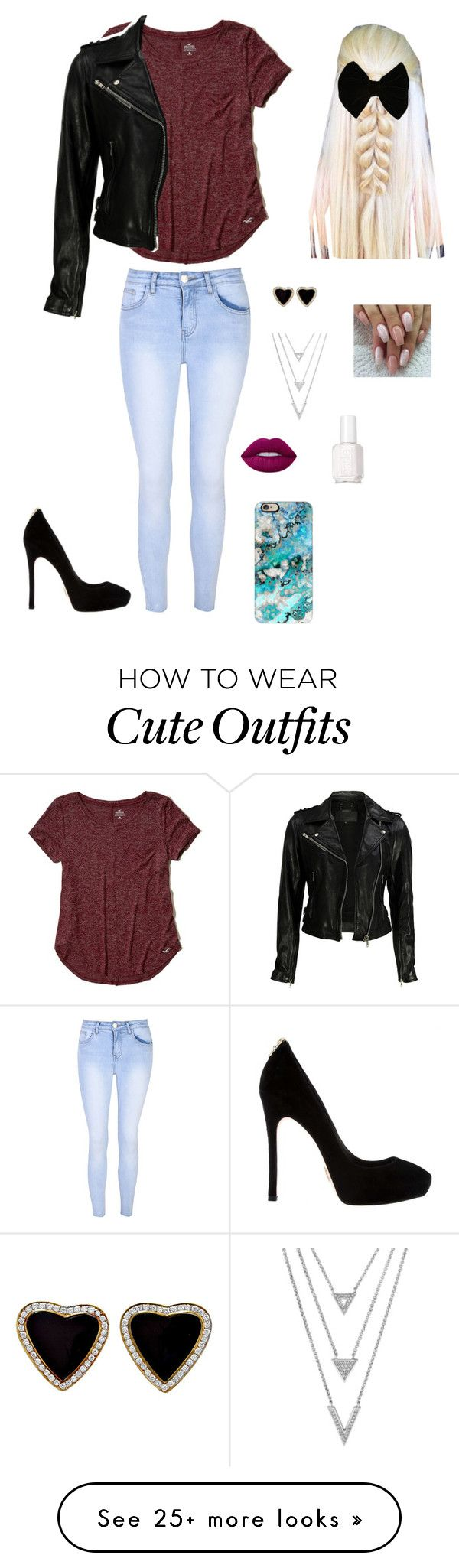 """Saturday outfit #2"" by fluffy2016 on Polyvore featuring Casetify, Glamorous, Hollister Co., VIPARO, Essie, Forever 21 and Lime Crime"