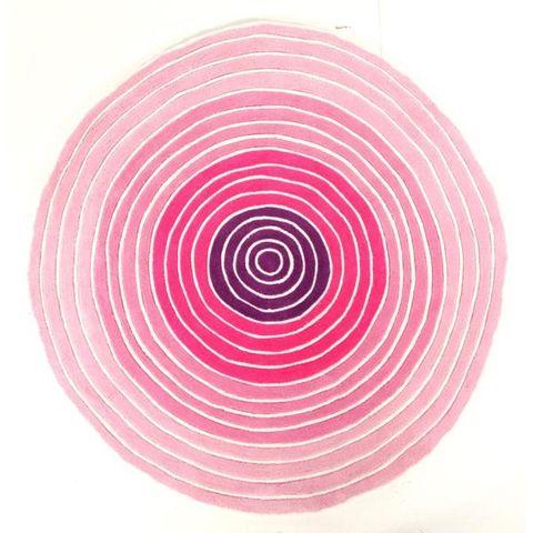 Circles Pink 150 x 150 cm Round Floor Rug
