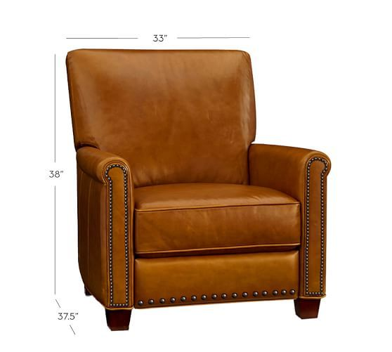 Irving Leather Recliner with Nailheads | Pottery Barn