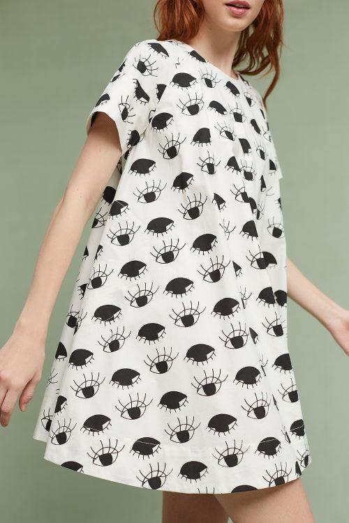 Lash-Printed Swing Dress