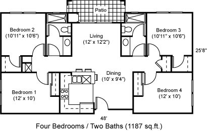 14 best images about rooming house on pinterest rustic for Quad apartment plans