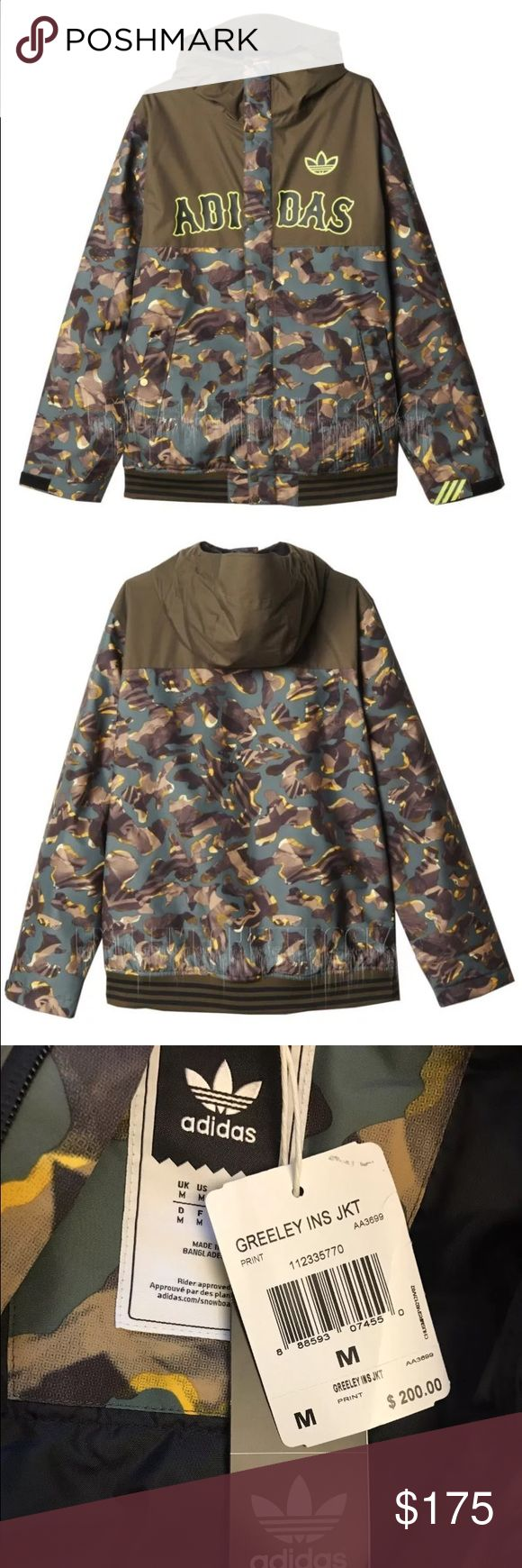 Adidas Originals Mens Greely Camo Jacket NWT New With Tags awesome Adidas Camo Jacket! Very Nice and lined in the inside can be used for regular wear or sking. Adidas Jackets & Coats Puffers