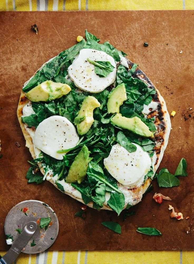 White Pizza with Avocado, Spinach & Mozzarella