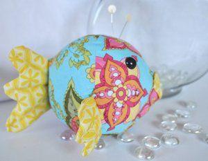 Riley Blake Designs -- Cutting Corners: A Bohemian Blowfish Pincushion designed by Bree of Distant Pickles.