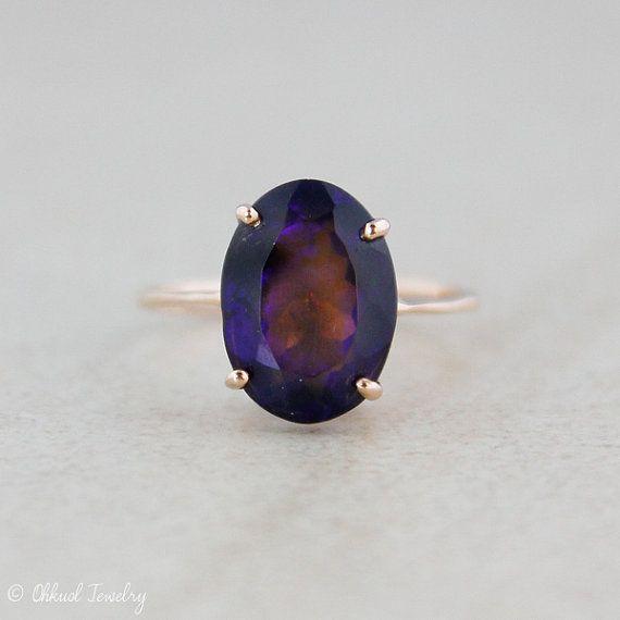 Australian Black Opal Ring - Prong Set - 10kt Rose Gold - Engagement Ring