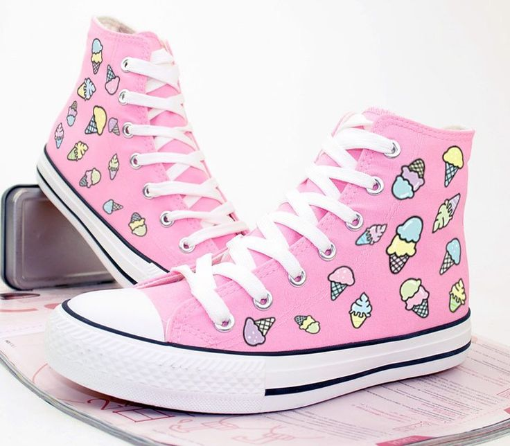 """Cute students ice cream hand painted canvas shoes  Coupon code """"cutekawaii"""" for 10% off"""
