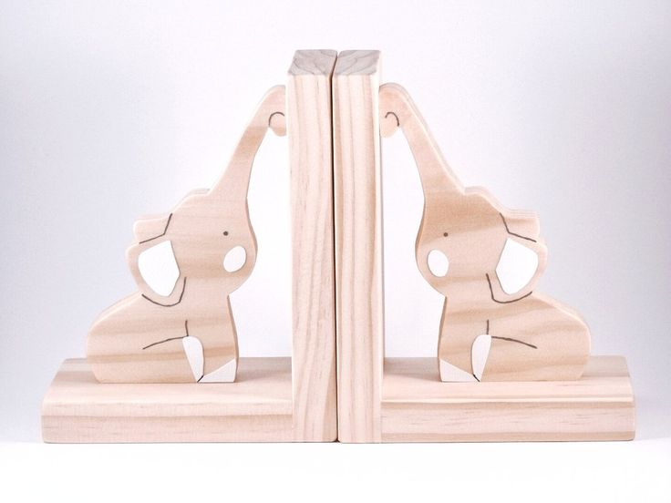 Raw Timber Elephant Bookends