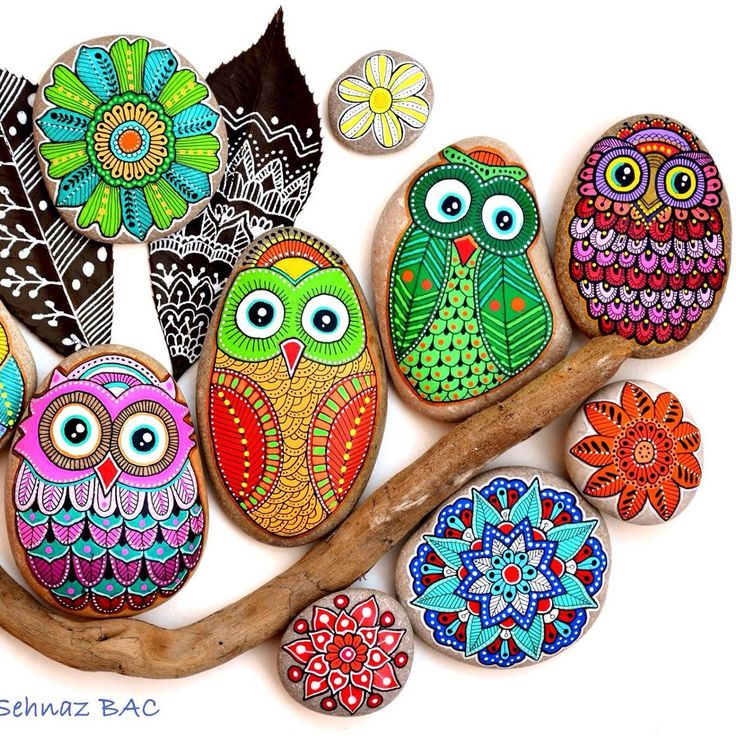 New mandala flowers with new owls