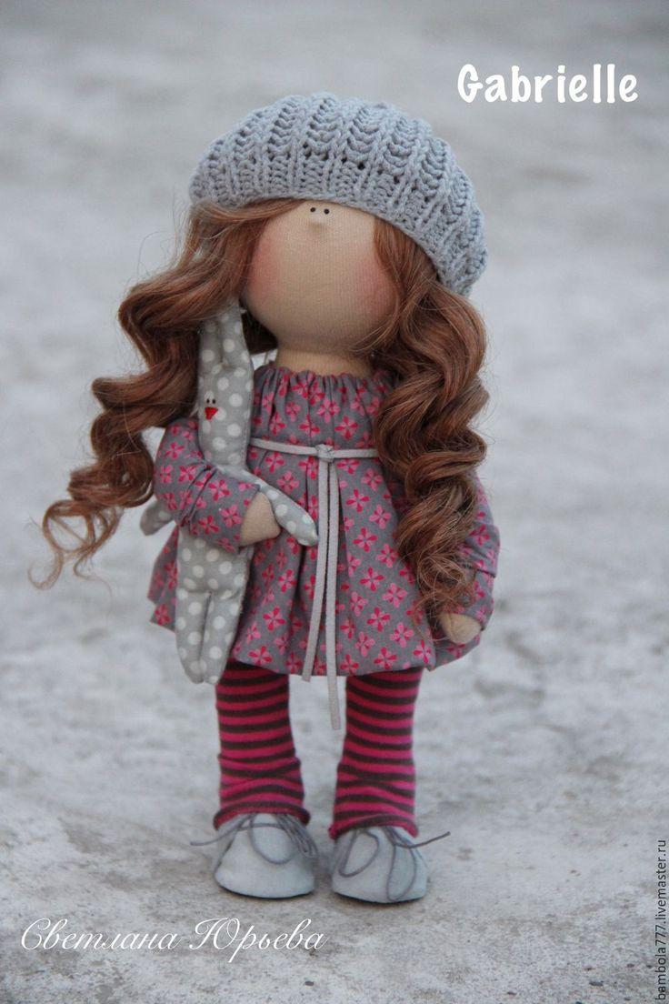 Купить Кукла интерьерная текстильная 26 см - фуксия, серый цвет, трикотаж, хлопок 100%