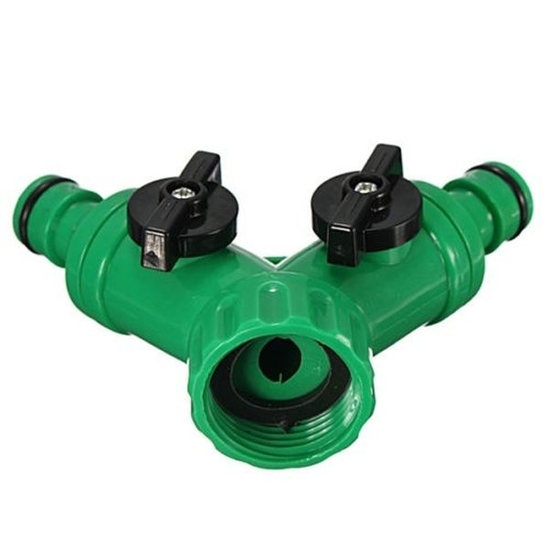 Y shaped Screw Hose Pipe Splitter 2 way Connector Garden Turn Off Plastic Tube