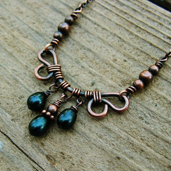 Antiqued Copper and Deep Teal Freshwater Pearl by BearRunOriginals, $24.00