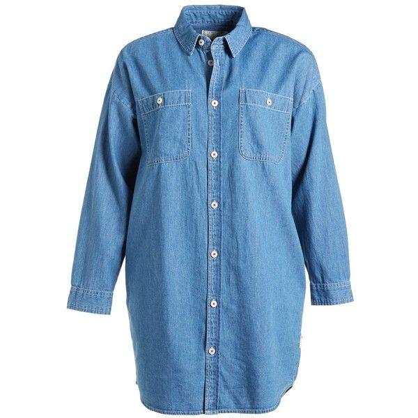 Chocoolate Two Pocket Denim Shirtdress (Women) (515 ZAR) ❤ liked on Polyvore featuring dresses, shirts, tops, denim blue, button down dress, long denim shirt dress, button up work shirts, blue work shirt and denim work shirts