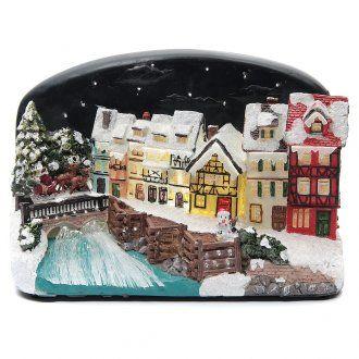 Villaggio di Natale casette con ponte resina 30x25x30 cm
