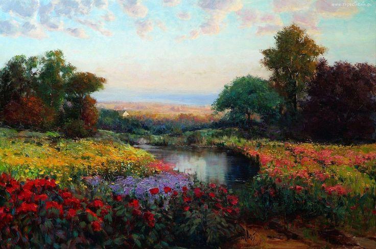Malarstwo, Obraz, Łąka, Staw, Drzewa, Kwiaty, Maki