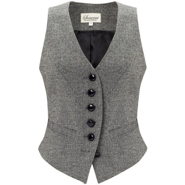 Somerset by Alice Temperley Donegal Tweed Waistcoat, Grey (41.600 CLP) ❤ liked on Polyvore featuring outerwear, vests, vest, tops, jackets, shirts, vest waistcoat, gray vest, waistcoat vest and v-neck vest