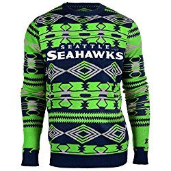 NFL Football 2015 Aztec Ugly Crew Neck Holiday Sweater - Pick Team (Seattle Seahawks, Medium)